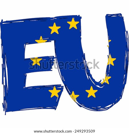 EU Flag Text Name Country Vector illustration Hand Made - stock vector