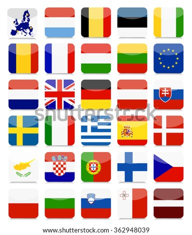 EU Flags Flat Square Icon Set.All elements are separated in editable layers clearly labeled. - stock vector