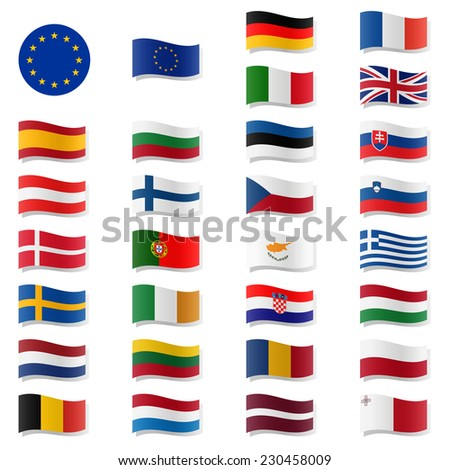 EU Member States - Flags swung - stock vector