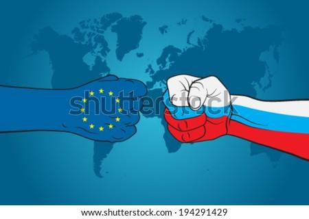 EU versus Russia - stock vector