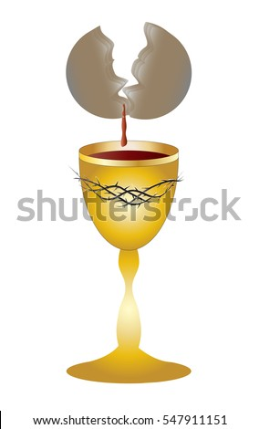 Eucharist Symbol Chalice Bleeding Host Bread Stock Vector Royalty