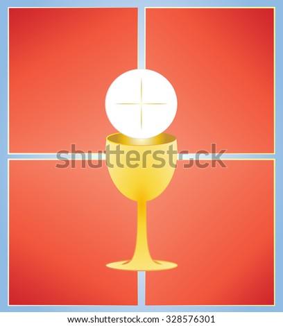 Eucharist Symbol Bread Wine Chalice Host Stock Vector 328576301