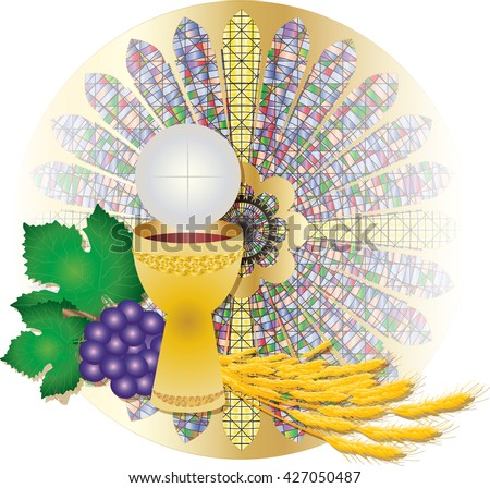 Eucharist Symbol Bread Wine Chalice Host Stock Vector 427050487
