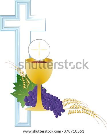 Eucharist Symbol Bread Wine Chalice Host Stock Vector Hd Royalty