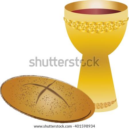 Eucharist Symbols Bread Wine Chalice Host Stock Vector 401598934