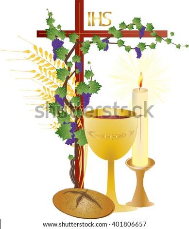 Eucharist Symbols Bread Wine Chalice Host Stock Vector Hd Royalty
