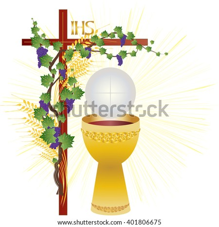 Eucharist symbols of bread and wine, chalice and host with wheat ears and vine. FIrst communion christian color vector illustration.