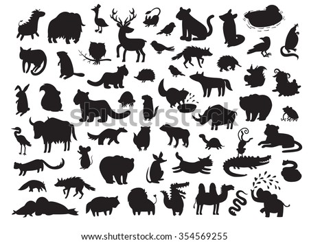 Eurasia animals silhouettes,isolated on white background vector illustration.Eurasian animals contour.Eurasia mammals big vector set.Preschool, baby, drawn, educations. Loin, hare, rhino, bird icon - stock vector