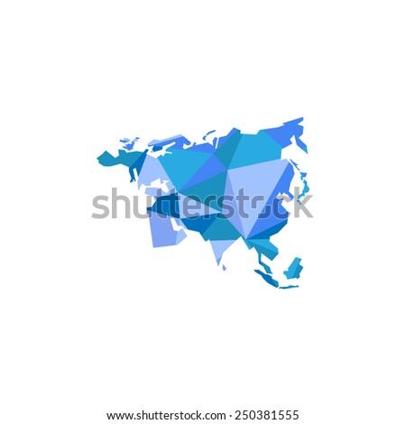 Eurasia continent. Polygonal illustration. Vector eps10 - stock vector