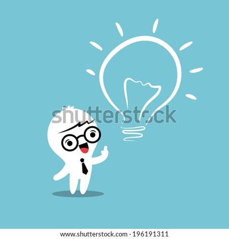 eureka lightbulb idea cartoon - stock vector