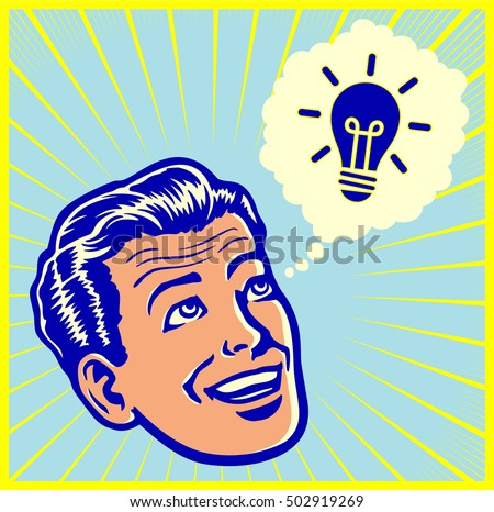 Eureka! vintage retro man having brilliant idea or solving problem with stroke of genius vector illustration