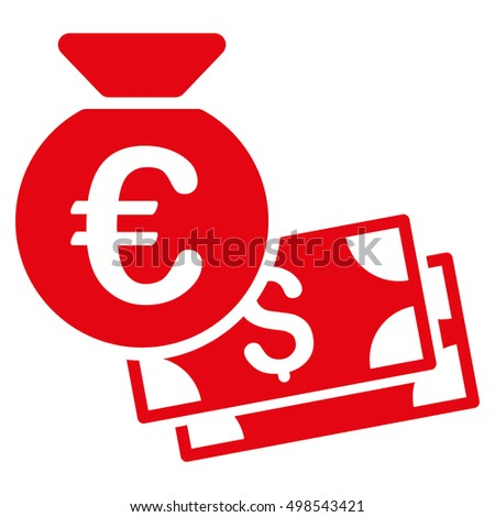 Euro and Dollar Cash icon. Vector style is flat iconic symbol, red color, white background.