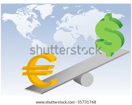euro and dollar symbols on seesaw-concept of global currencies unstability and financial crisis - stock vector