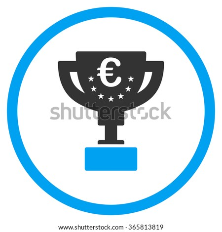 Euro Award Cup vector icon. Style is bicolor flat circled symbol, blue and gray colors, rounded angles, white background. - stock vector