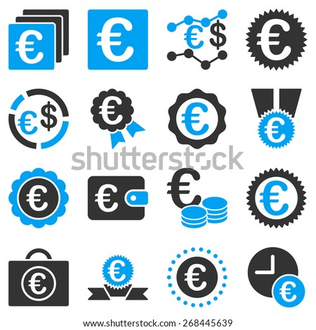 Euro banking business and award icons. These symbols use modern corporate light blue and gray colors. - stock vector
