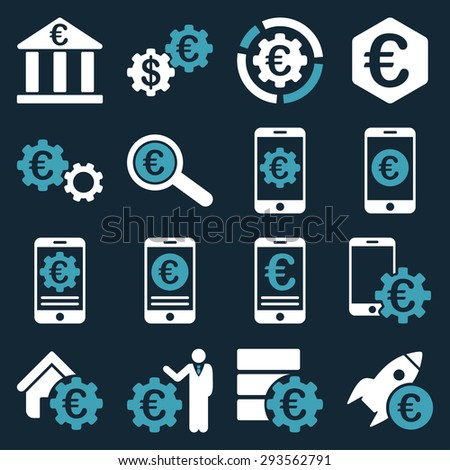 Euro banking business and service tools icons. These flat bicolor icons use blue and white. Images are isolated on a dark blue background. Angles are rounded. - stock vector