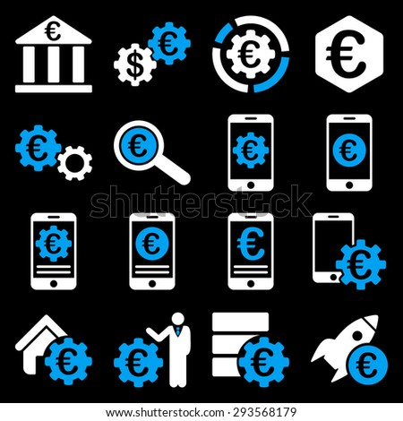 Euro banking business and service tools icons. These flat bicolor icons use blue and white. Images are isolated on a black background. Angles are rounded. - stock vector