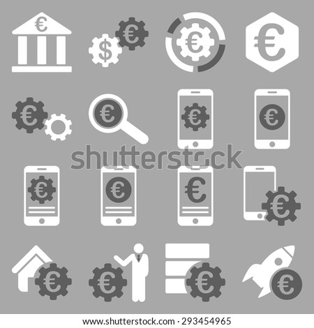 Euro banking business and service tools icons. These flat bicolor icons use dark gray and white colors. Images are isolated on a silver background. Angles are rounded. - stock vector