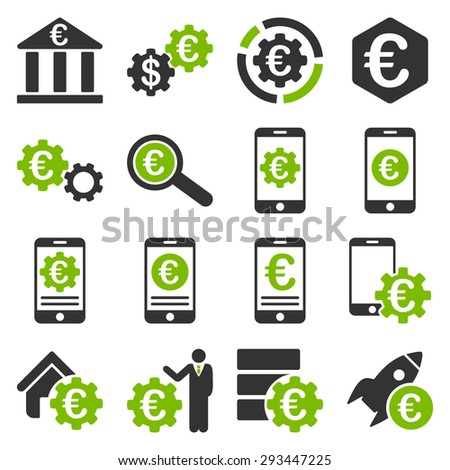 Euro banking business and service tools icons. These flat bicolor icons use eco green and gray colors. Images are isolated on a white background. Angles are rounded. - stock vector