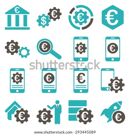 Euro banking business and service tools icons. These flat bicolor icons use grey and cyan colors. Images are isolated on a white background. Angles are rounded. - stock vector
