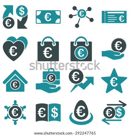 Euro banking business and service tools icons. These flat bicolor icons use soft blue. Images are isolated on a white background. Angles are rounded. - stock vector
