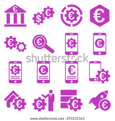 Euro banking business and service tools icons. These flat icons use violet color. Images are isolated on a white background. Angles are rounded. - stock vector