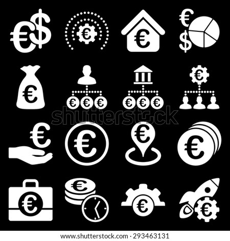 Euro banking business and service tools icons. These flat icons use white color. Images are isolated on a black background. Angles are rounded. - stock vector