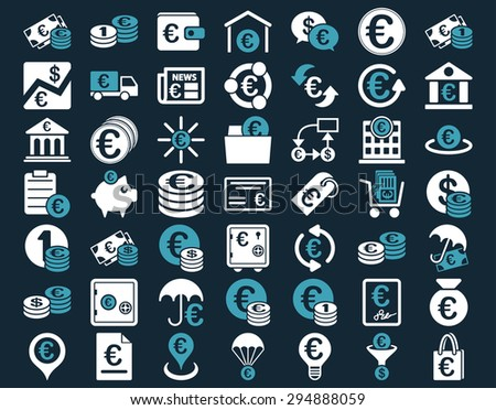 Euro Banking Icons. These flat bicolor icons use blue and white colors. Vector images are isolated on a dark blue background.  - stock vector