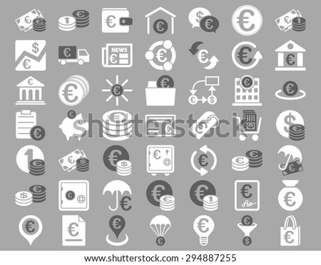 Euro Banking Icons. These flat bicolor icons use dark gray and white colors. Vector images are isolated on a silver background.  - stock vector