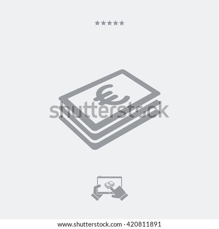 Euro banknote flat icon - stock vector
