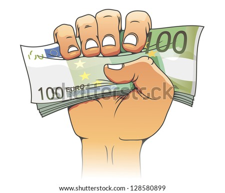 Euro banknote in people hand for finance concept. Jpeg version also available in gallery - stock vector