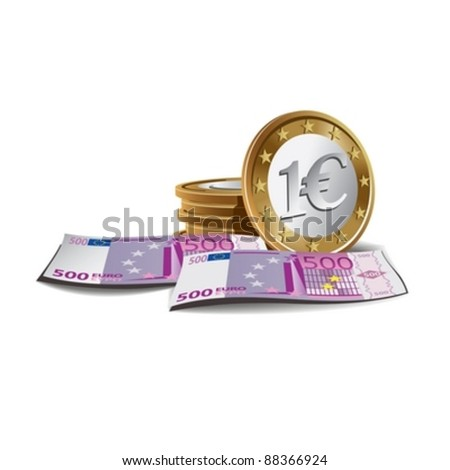 Euro banknotes and counts vector illustration, financial theme