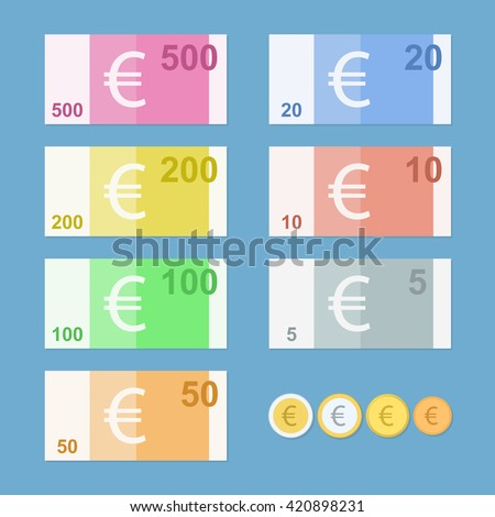 Euro banknotes. Money coins. Simple, flat style. Graphic vector illustration. - stock vector