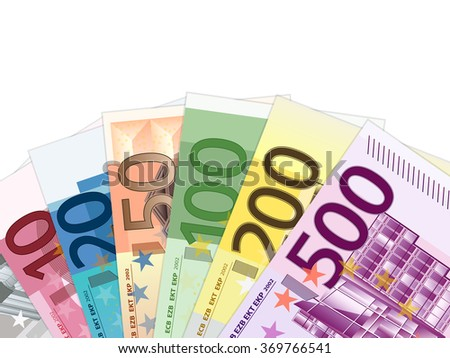Euro banknotes on a white background. Vector illustration. - stock vector
