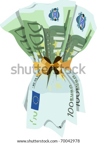 euro banknotes tied with golden ribbon on a white background - stock vector