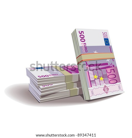 Euro banknotes vector illustration in color, financial theme ; isolated on background. - stock vector