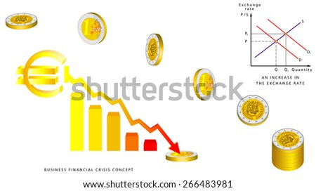 Euro coins falling, 3D. Obverse and reverse of euro. Euro coin - European Union money. Euro Currency Collapse. Exchange rate. Business financial crisis concept.  An increase in the exchange rate  - stock vector