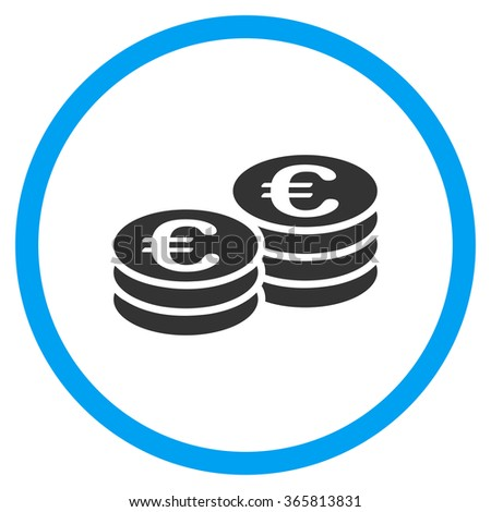 Euro Coins vector icon. Style is bicolor flat circled symbol, blue and gray colors, rounded angles, white background. - stock vector