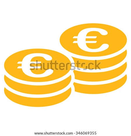 Euro Coins vector icon. Style is flat symbol, yellow color, rounded angles, white background. - stock vector