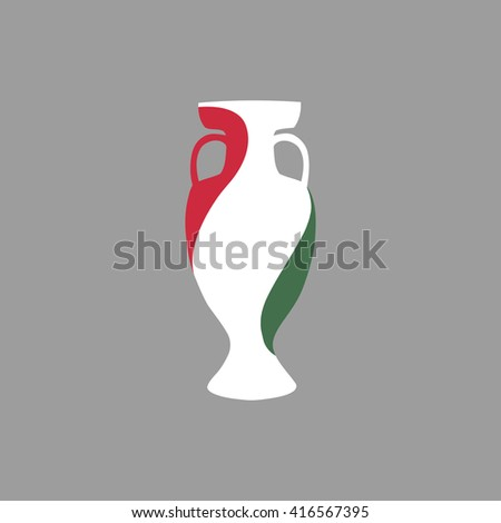 Euro cup 2016 France. Hungary participant, group F. Euro 2016 official vector flat cup isolated on grey background. Eurocup, euro cup. Championship winner prize trophy. Fifa world cup 2018 Russia - stock vector