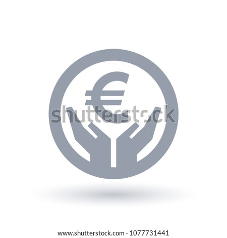 Euro Currency Hands Icon European Money Stock Vector 1077731441