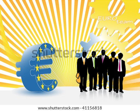 Euro Currency Sign With a Business Team - stock vector