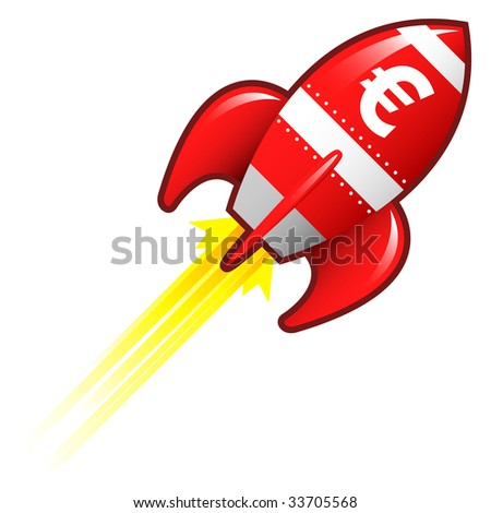 Euro currency symbol on red retro rocket ship illustration good for use as a button, in print materials, or in advertisements. - stock vector