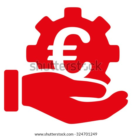 Euro Development Service vector icon. Style is flat symbol, red color, rounded angles, white background.