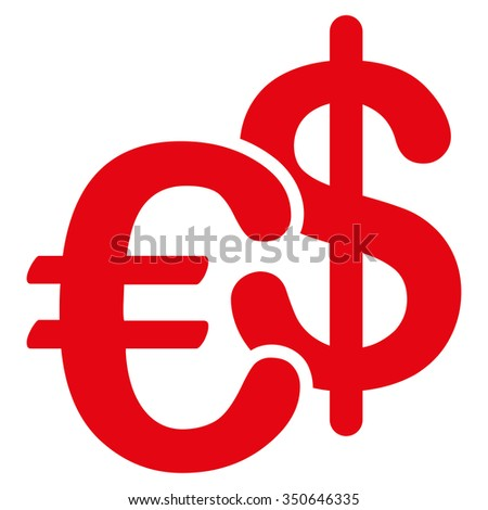Euro Dollar Currency vector icon. Style is flat symbol, red color, rounded angles, white background.