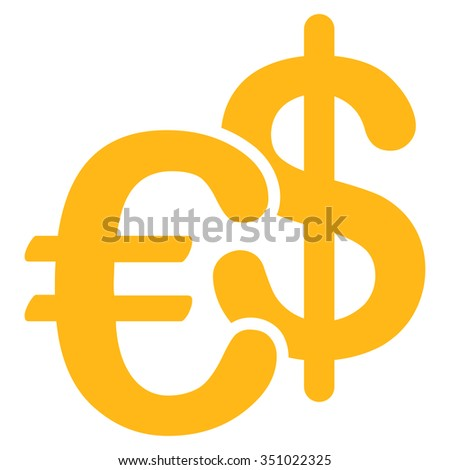 Euro Dollar Currency vector icon. Style is flat symbol, yellow color, rounded angles, white background.