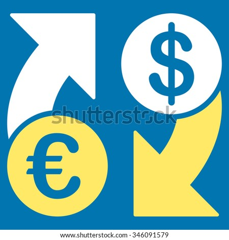 Euro Dollar Euro Exchange vector icon. Style is bicolor flat symbol, yellow and white colors, rounded angles, blue background.
