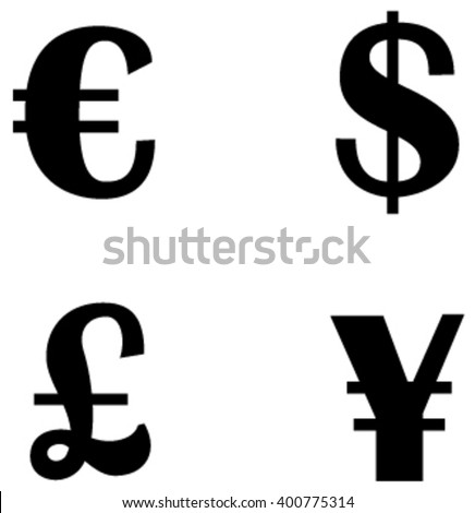 Euro Dollar Pound Sterling Currency Symbols Stock Vector Royalty
