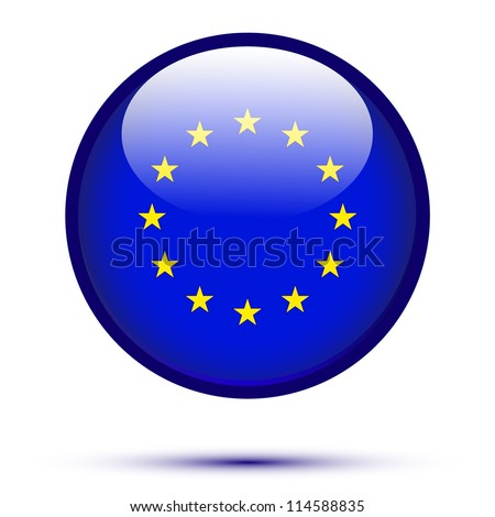 Euro flag button isolated on white - stock vector