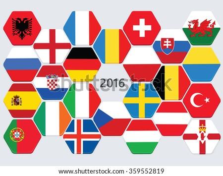 Euro football competition team flags. European soccer cup teams  - stock vector